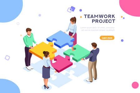 Ilustración de Conceptual web seo illustration. Landing page for stylish website. Teamwork project, web agency or male young employee and new company project. Sticker for web banner. Flat isometric vector images. - Imagen libre de derechos