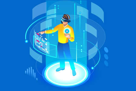 Illustration pour Into the future, isometric man wearing technology and touching virtual reality, augmented vr. Gadget interface for entertainment, device for virtual payment or online transaction. Vector illustration. - image libre de droit