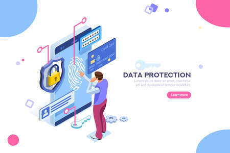 Ilustración de Data protection concept. Credit card check and software access data as confidential. Can use for web banner, infographics, hero images. Flat isometric illustration isolated on white background. - Imagen libre de derechos