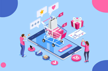 Illustration pour Order online, shopping concept. Customer character with gift. Mobile pay with credit card. Can use for web banner, infographics, hero images. Flat isometric illustration isolated on white background. - image libre de droit
