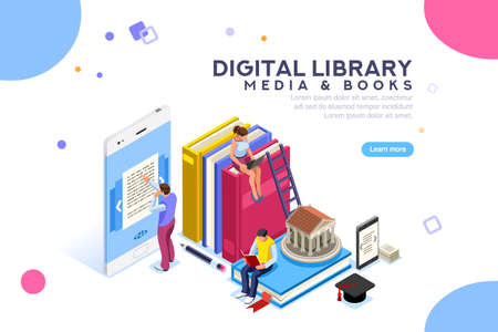 Illustration pour Media book library concept. E-book, reading an ebook to study on e-library at school. E-learning online, archive of books. Flat Isometric characters vector illustration. Landing page for web. - image libre de droit
