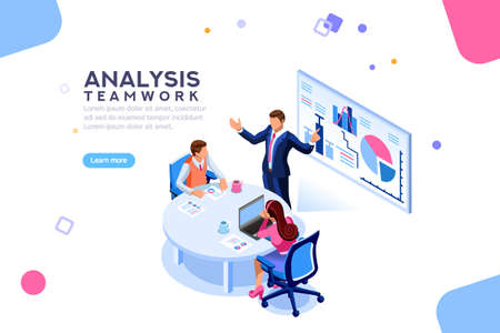 Illustration pour Project management and financial report strategy. Consulting team. Collaboration concept with collaborative people. Isometric business analysis planning. Flat isometric characters vector illustration. - image libre de droit