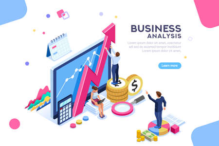 Ilustración de Auditing, business analysis concept with characters. Concept of opportunities. Graphic and audit documentation, economic analysis financial budget. Illustration Flat isometric vector background. - Imagen libre de derechos
