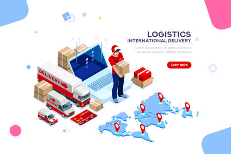 Illustration pour Distribution, global factory infographic. Good trade and logistics, international delivery. Supply network insurance. Vehicle, isometric truck illustration, vector cargo isolated on white background. - image libre de droit