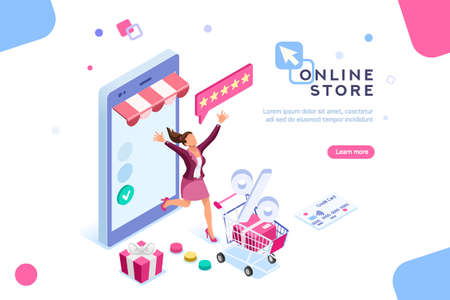 Illustration pour E-shop, shopping concept with characters. Commercial checkout pay, ecommerce retail on device for customer application. Discount for woman smart purchasing. Flat Isometric characters illustration. - image libre de droit