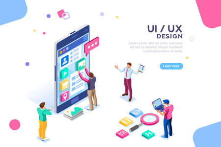 Ilustración de UI design concept with character and text for designer. Device content place infographic. Software group, kit for phone seo programming. UX, digital hero creative flat isometric vector illustration. - Imagen libre de derechos