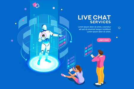 Illustration pour Artificial intelligence, ai for business. Iot concept, mans and women a chat bot dialog. Messenger application, virtual service of robot for social media. Flat Isometric concept with characters and - image libre de droit