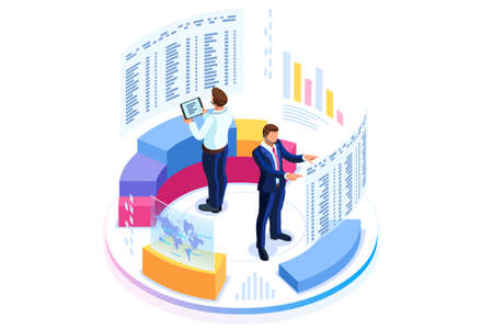 Photo pour Financial administration concept. Consulting for company performance, analysis concept. Statistics and business statement. Flat isometric infographics for banner or business hero images. - image libre de droit