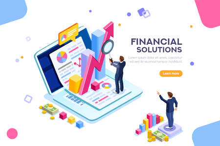 Illustration pour Finance and engineering graph of economics. Statistic and sales manager for financial management concept. Economic infographic banner. Flat isometric concept with characters vector illustration. - image libre de droit