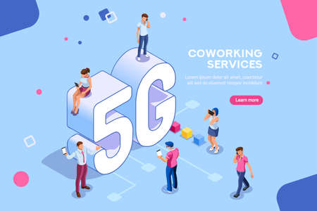 Illustration pour Internet systems telecommunication service. Wifi broadcast and data generation. Mobile 5G smartphone signal, tech of speed, global broadcasting to cloud. Isometric concept with characters illustration - image libre de droit