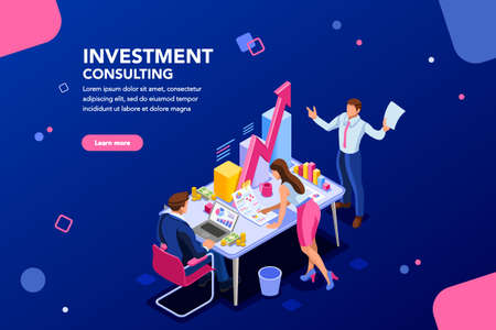 Illustration pour Business adviser team. Management of investment, meeting, account, consultant discussion. Data income graph professional analyzing, financial analyst concept. Characters on flat isometric illustration - image libre de droit