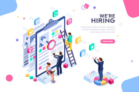 Ilustración de Job presentation fair banner page, choose career or interview a candidate. Job agency human resources creative find experience. Work concept with character and text. Flat isometric vector illustration - Imagen libre de derechos
