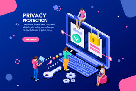 Illustration pour Infographic, banner with hero protect data and confidentiality. Safety and confidential data protection, concept with character saving code and check access. Flat isometric vector illustration. - image libre de droit
