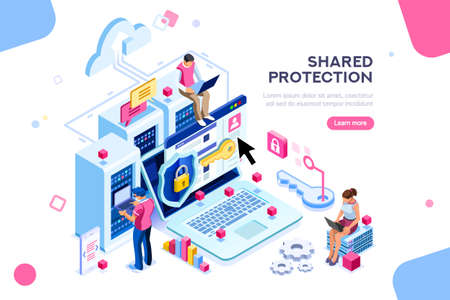 Illustration pour Online administrator, web hosting concept. Technician repair software. Hardware protection share infographic. Store safe server concept. Characters and text images, flat isometric vector illustration - image libre de droit