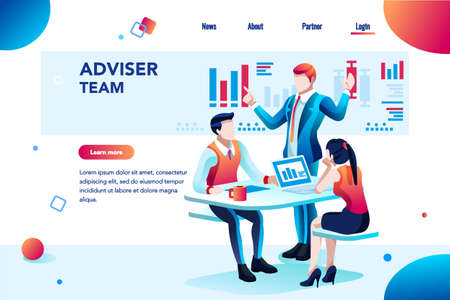 Ilustración de Analyst, financial banner. Planner, corporate earning calculate, data discussion. Consultant concept, characters, text on flat isometric emblem. Flowchart icons, infographic images vector illustration - Imagen libre de derechos
