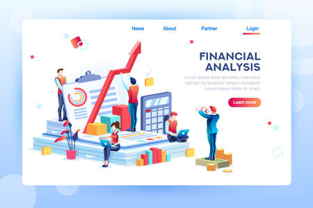 Photo pour Balance financial value, management and administration concept. Characters, people engineering a plan. Statistic, calculating financial risk graph. Flat Isometric characters vector illustration. - image libre de droit