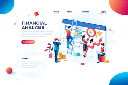 Illustration for Finance analysts. Concept of analytics for website, small social presentation, magnifying infographic. Study global occupation concept with characters and text. Flat isometric vector illustration. - Royalty Free Image