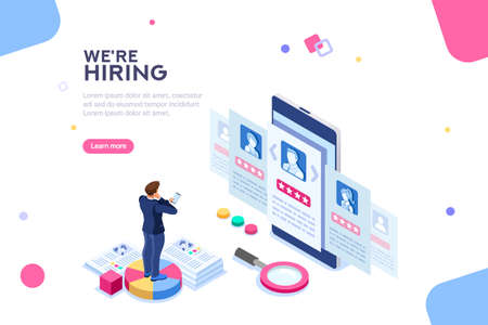 Photo pour Social presentation for employment. Infographic for recruiting. Web recruit resources, choice, research or fill form for selection. Application for employee hiring. flat isometric vector illustration. - image libre de droit