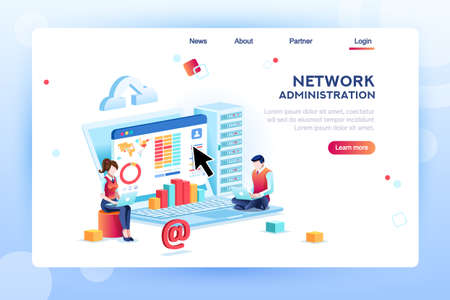 Illustration pour Data center repair information, administrator on network, lan concept. Character monitor and support, admin of website. Banner infographic icons flat isometric emblem flowchart vector illustration. - image libre de droit