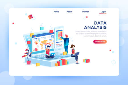 Illustration pour Data analysis concept with characters. Engine strategy, analyzing, infographic of workplace for developers, workspace for creative optimization. Template for web banner, flat isometric illustration. - image libre de droit