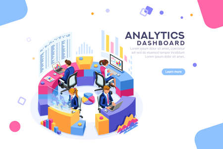 Ilustración de Charts key server statistic, performance indicators concept. Analyst on management process. analytics dashboard. Virtual screen showing sales concept. Characters on flat isometric Vector illustration. - Imagen libre de derechos