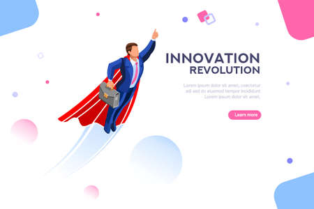 Illustration pour Technology transformation from digital success to income up. Imagination and innovation, start-up plan. Adult winner in the space. Concept with character with text. Flat isometric vector illustration - image libre de droit