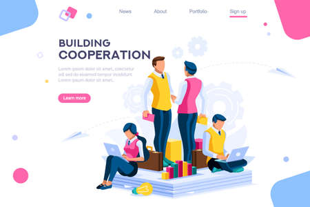Illustration for Message for cooperation, graphs of community plan. Pay for building a company conversation. Development metaphor, join persons on a series of plant solutions. Factory flat modern vector illustration. - Royalty Free Image