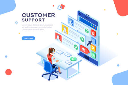 Illustration pour Customer support concept. Consultant on hotline chat, telemarketer. Helpdesk talking. Infographic of call center answer. Girl technical professional receptionist. Flat isometric vector illustration - image libre de droit