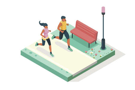 Illustration for Marathon race event. Fitness sneakers. Training on the road. Run sprint, health dynamics people sprint. Jogging fast group. Images, web banner, flat isometric illustration isolated on white background - Royalty Free Image