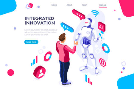 Illustration pour Colored hi integrated scientific innovative machine. Innovation, clever brain, artificial intelligence. Banner between white background, between empty space. 3d images isometric vector illustrations. - image libre de droit