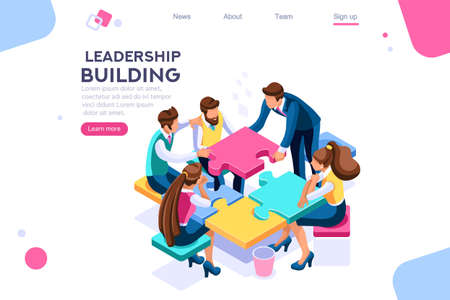 Ilustración de Leadership unity. Leader and business puzzle construction. Process support concept, can use for web banner, infographics, hero images. Flat isometric vector illustration isolated on white background - Imagen libre de derechos