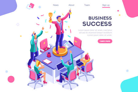Ilustración de Header, screen increase, competition interface. Earn application, can use for web banner, infographics, hero images. Flat isometric vector illustration isolated on white background - Imagen libre de derechos