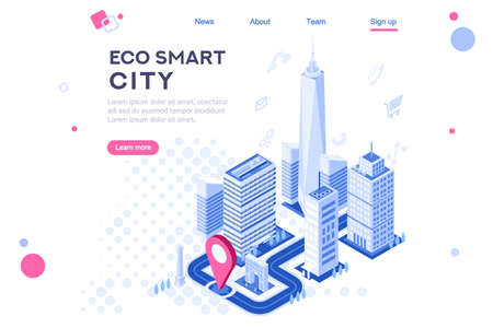 Illustration pour Web city smart eco system for engineers. Build flat complex, tech dashboard, virtual ui, architecture homepage. Map of skyscraper center. Banner, 3d isometric buildings isolated on white background - image libre de droit