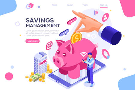 Illustration pour Depositing, banknote banner. Money on smartphone, coin holding. Bank concept for infographics, hero images. Flat isometric vector illustration. Web banner between white background, between empty space - image libre de droit