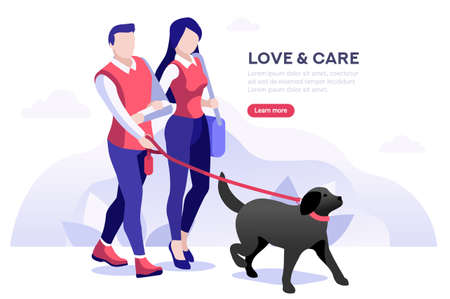 Female recreation and rest outdoor together with animals, relax and love time. Male character in leisure caring the friendship with pets. Walk concept. Flat vector illustration.