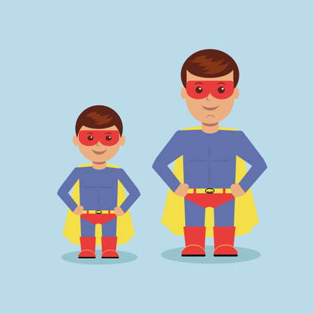 Dad and son dressed as a superhero. Vector illustrationのイラスト素材