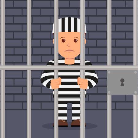 Illustration pour Male prisoner in cartoon style. - image libre de droit