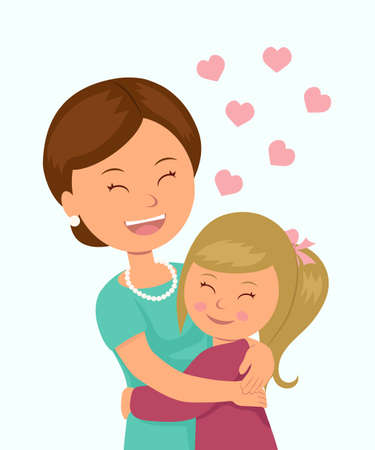 Illustration for Daughter hugging her mother. Isolated characters in the embrace of a mother and her daughter on a white background. Concept design Mother's Day. - Royalty Free Image