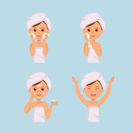 Illustration for Isolated set of characters: Girl takes care of the skin. Washing, Treatment, Applying cream, Facial, Beauty, Cosmetic, Makeup. - Royalty Free Image