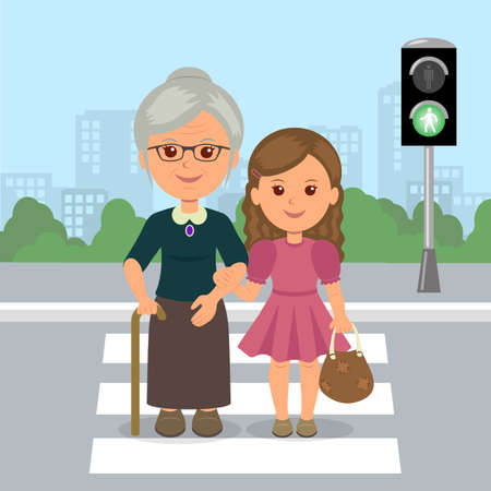 Young girl helps old woman to cross the road at a pedestrian crossing. Help the elderly. Safety traffic. Vector Illustration.