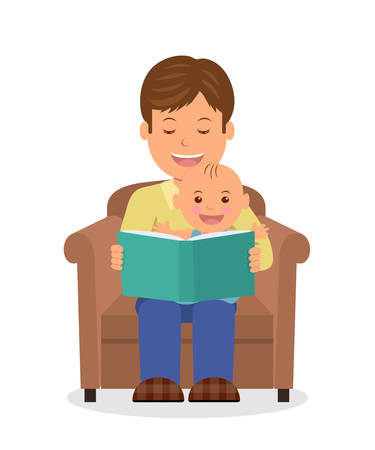 Illustration for Father and child sitting in an armchair reading a book. Reading the child before bedtime. Isolated vector illustration of a dad and toddler sitting together in armchair. - Royalty Free Image