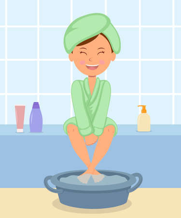 Illustration for Young girl taking Spa treatments. Female in the bathrobe keeps feet in hot water before a pedicure. Independent skin care for the feet. - Royalty Free Image