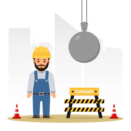 Illustration for Builder at a construction site. Demolition of the building. Wrecking ball. Cartoon vector illustration danger on the construction site. - Royalty Free Image