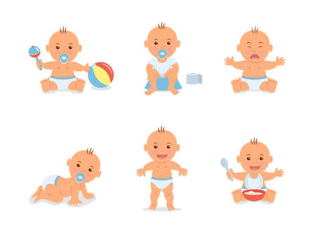 Foto de Cartoon set with cute little babies in diaper. Happy toddler plays with toy, child learning to walk, baby crying, child sits on potty, toddler crawling on the floor. - Imagen libre de derechos
