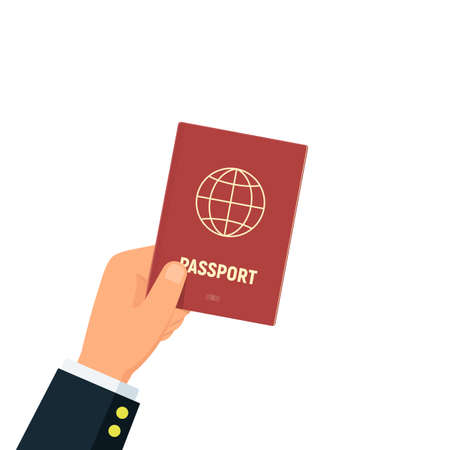 Close-up of person hands with red passport. Concept personal identification. Identity document. Business travel and tourism. Vector illustration in flat style.