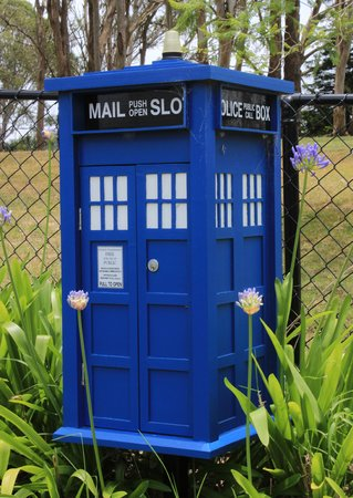 Blue police box style letter box