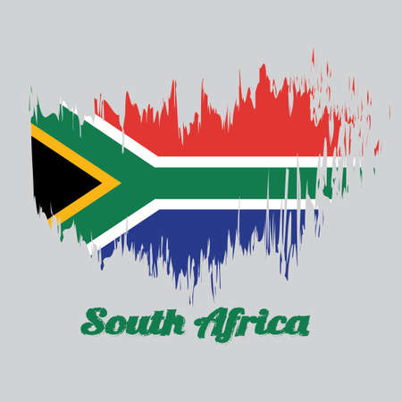 Brush style color flag of South African, red and blue with a black triangle, white and green horizontal Y and gold against the triangle with text South African.
