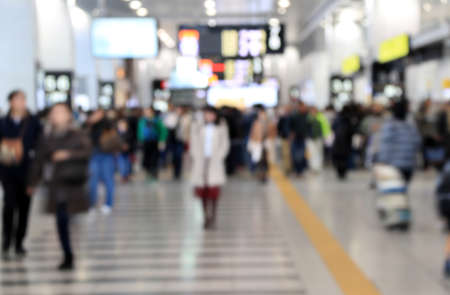 Photo pour Blur style of many people in the train station at japan. Abstract Background Blurred Image, People hurry at the railway. - image libre de droit