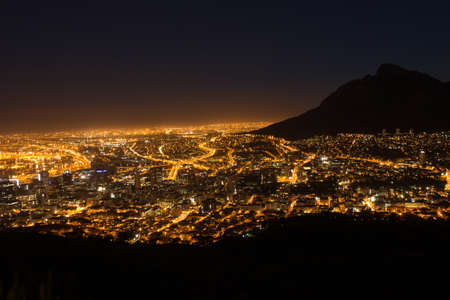 Photo for View of Table Mountain and Cape Town City at sunrise on a beautiful morning, Cape Town, South Africa - Royalty Free Image