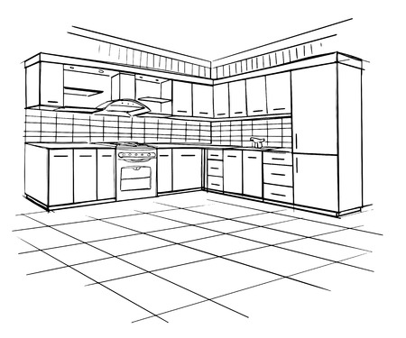 Modern interior sketch of corner kitchen. Design house. Architecture.